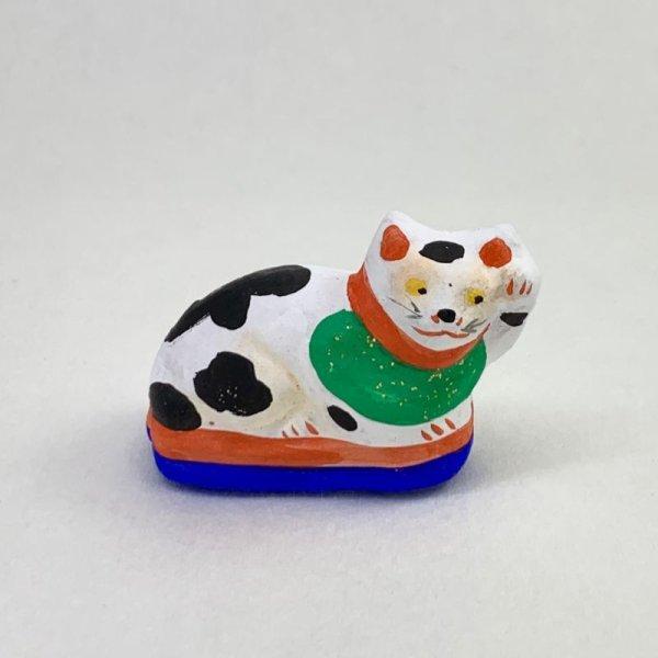 画像1: [土人形]古型今戸人形/丸〆猫(小・臥姿)