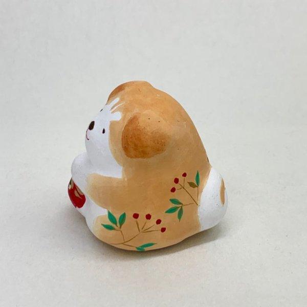 画像2: [土鈴]ももさだ土人形/秋田犬だるま抱き