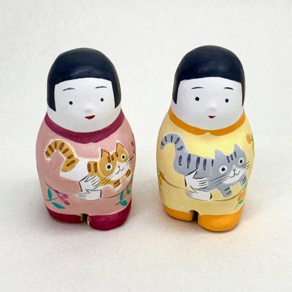 画像1: [土鈴] ももさだ土人形/猫抱き