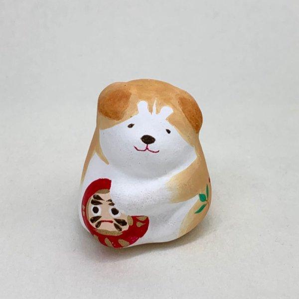 画像1: [土鈴]ももさだ土人形/秋田犬だるま抱き