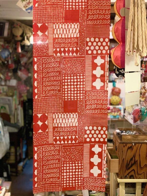 画像2: [型染] よつめ染布舎/手ぬぐい・花布(赤)