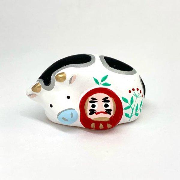 画像1: [土鈴] ももさだ土人形/干支・ダルマ抱き丑