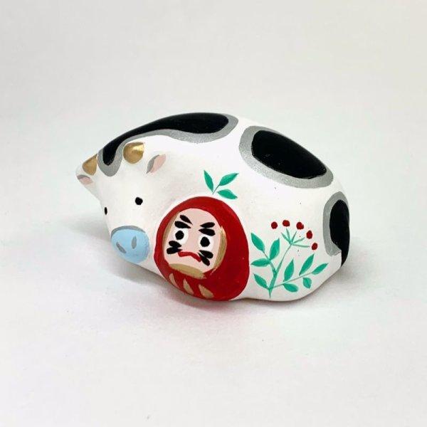 画像2: [土鈴] ももさだ土人形/干支・ダルマ抱き丑