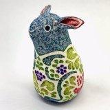 【布製品】木版手染めぬいぐるみ・奄美のクロウサギ